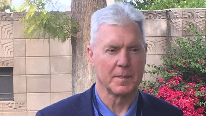 Packers general manager Ted Thompson meets with reporters at the NFL owners meetings on Monday, March 27, 2017, in Phoenix.