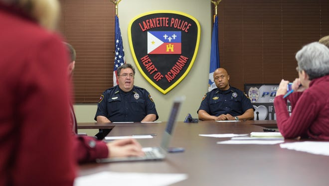 Lafayette Police Department meet with members of the media to discuss 2018 goals and objectives. Thursday, Dec. 28, 2017. Pictured L-R, Police Cief Toby Aguillard and Deputy Chief of Police Reginald Thomas.