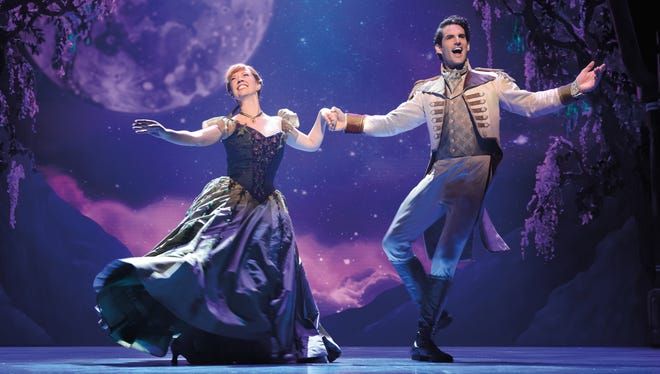 "Patti Murin (Anna) and John Riddle (Hans) in ""Frozen"" on Broadway."