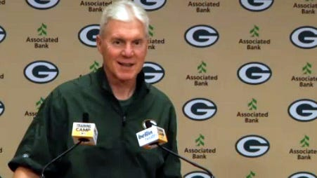 Green Bay Packers general manager Ted Thompson speaks to reporters on Wednesday after the team announced a multi-year extension of his contract.