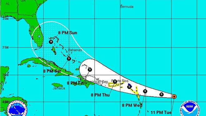 Tropical Storm Erika, August 25 at 11 p.m.