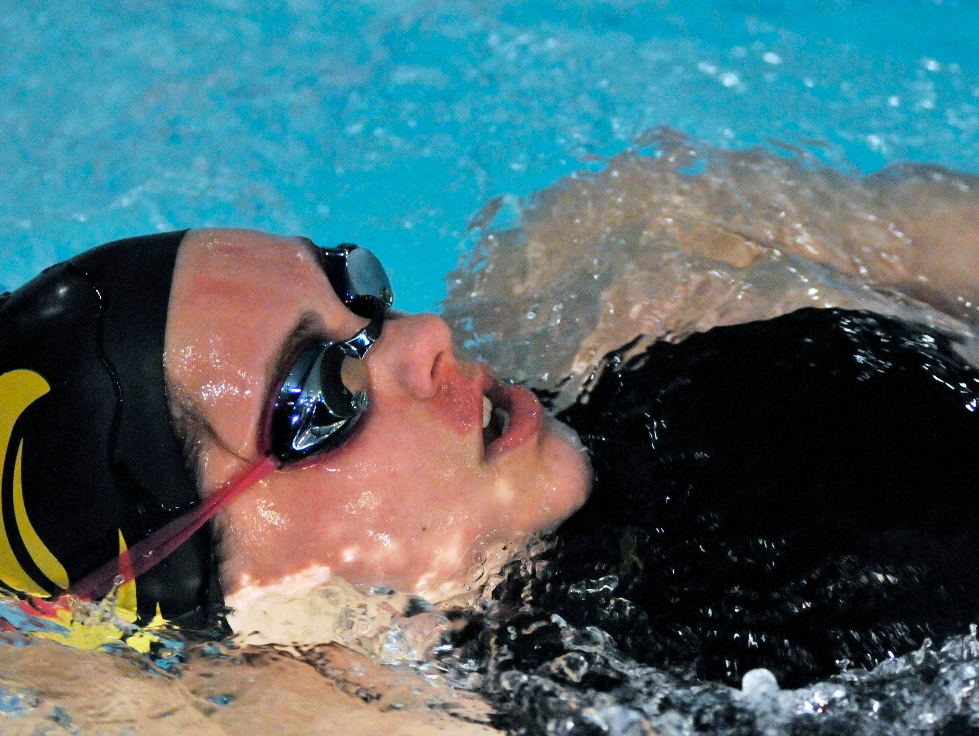 Trissa Schimpf of Colonel Crawford competes in the Girls 200 Yard IM at the NW District Mansfield Sectionals at Malabar School Saturday.