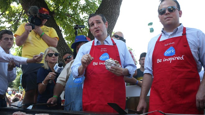 Republican presidential candidate Ted Cruz talks at the pork tent on Friday, Aug. 21, 2015, at the Iowa State Fair in Des Moines, Iowa.
