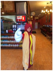 Colin Mastaw dressed as a hot dog at Charlie Grainger's.