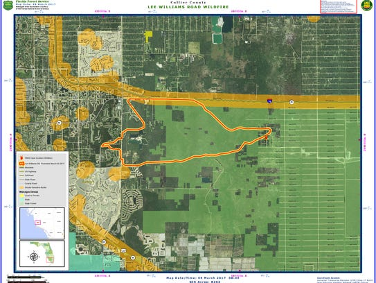 Perimeter of the brush fire in eastern Collier County.