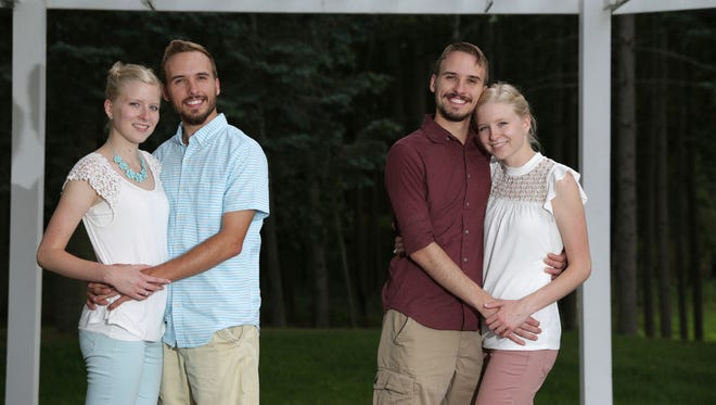 From left, Krissie Bevier and fiancé Zack Lewan and Nicholas Lewan and fiancée Kassie Bevier pose on July 29, 2018, in Grass Lake. Identical twins Krissie and Kassie Bevier are marrying identical twins, Zack and Nicholas Lewan.