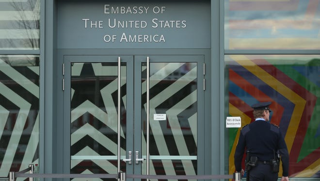 A security guard outside the U.S. Embassy in Berlin on Tuesday.