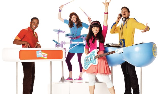 The Fresh Beat Band: Shout (Thomas Hobson), Marina (Tara Perry),  Kiki (Yvette Gonzalez-Nacer) and Twist (Jon Beavers).