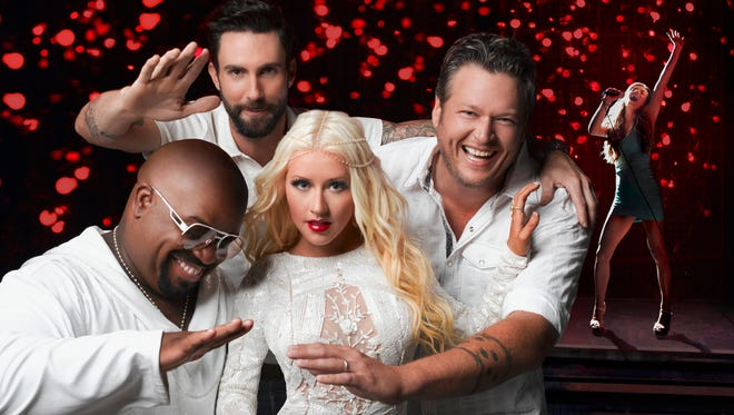 It's a knockout night on NBC's 'The Voice,' as judges CeeLo Green, left, Adam Levine, Christina Aguilera and Blake Shelton separate the wheat from the chaff.