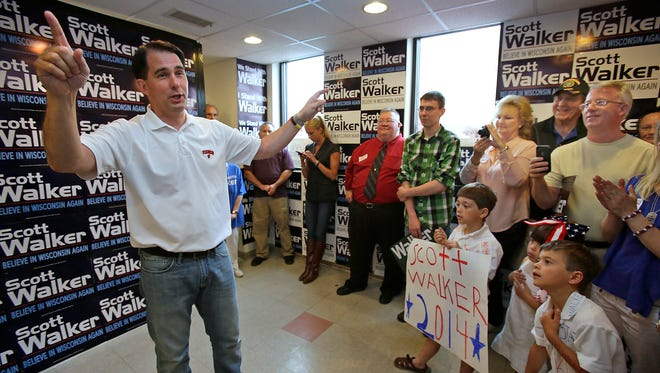 Gov.  Scott Walker makes a stop at the Republican Party of Wisconsin Appleton Headquarters.