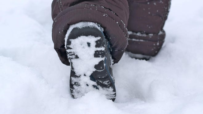 Walking in the snow.