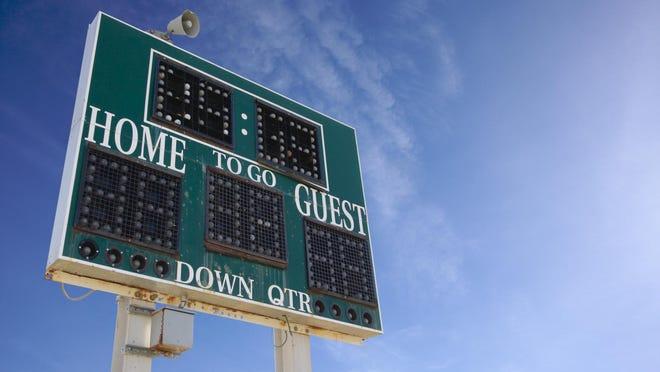 HIgh School Score Board on a Blue Sky
