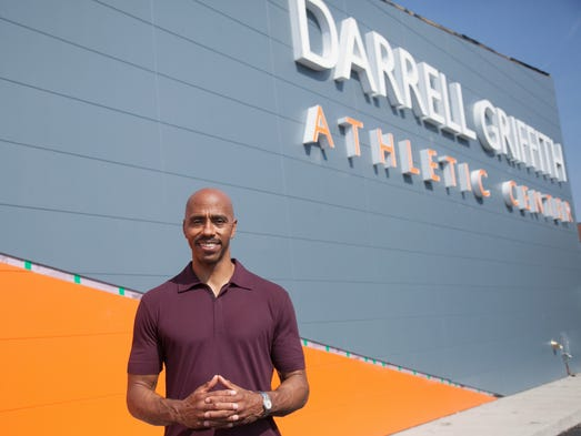 Darrell Griffith, a former UofL and pro basketball player, stands outside of the Darrell Griffith Athletic Center.  Aug., 27, 2014