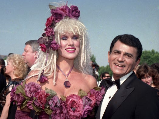Casey Kasem, along with wife Jean Kasem, arrives at the Emmy Awards in Los Angeles in 1987.