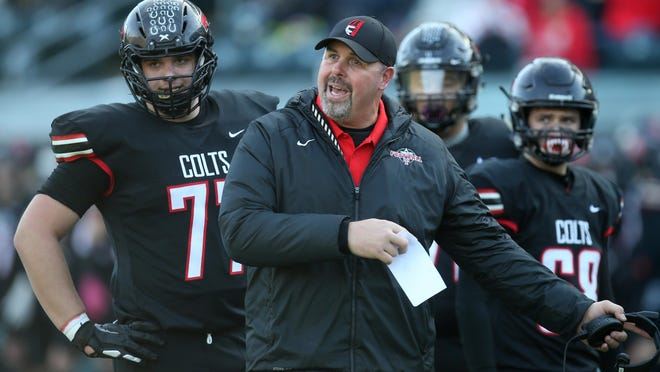 Thurston football coach Justin Starck led the Colts to back-to-back 5A state championships in 2018 and 2019. [Chris Pietsch/The Register-Guard] - registerguard.com