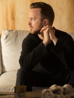 Aaron Paul at home in Los Angeles March 25. The 'Breaking Bad' alum stars in Hulu's new series 'The Path.'