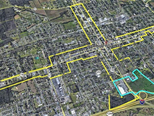 Proposed downtown Opelousas development district.