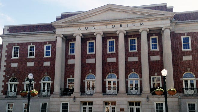 FILE - This Oct. 17, 2015, file photo, shows the entrance to the University of Alabama's Foster Auditorium, where Gov. George Wallace once stood at the entrance to prevent two black students from entering. Advocates say Alabama officials are doing a good job at preserving sites links to civil rights.