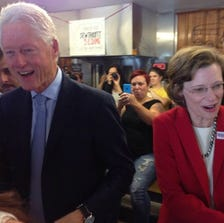 Bill Clinton made a surprise appearance in Atlanta on Saturday to campaign for Democratic Senate candidate Michelle Nunn.