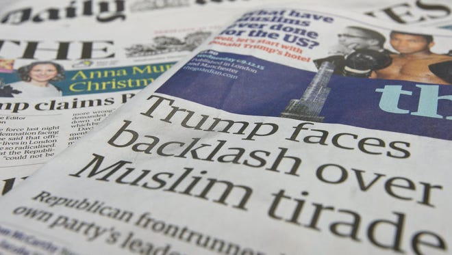 A general view of the front pages of British national newspapers on Dec. 9, 2015. The British press reacted to comments by Republican presidential candidate Donald Trump that the Metropolitan Police are scared to patrol certain Muslim areas of London.