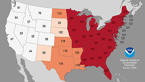 In December, 29 states had the highest statewide average