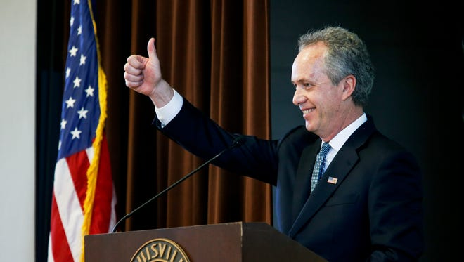 Louisville Mayor Greg Fischer delivers his state of the city speech at the Baxter Community Center. 