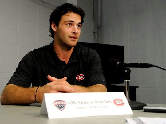 St. Cloud State senior defenseman Andrew Prochno talks with reporters Thursday at the 2014 NCHC media day in Minneapolis.