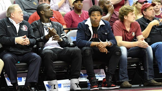 Current Jacksonville Jaguars and former Seminoles Telvin Smith and Jalen Ramsey attended the game on Wednesday night at the Tucker Center.