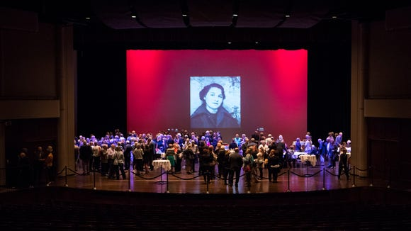 People gather for the memorial service of Sylvia Henkin inside the Washington Pavilion in Sioux Falls, S.D. on Monday, May 14, 2018.