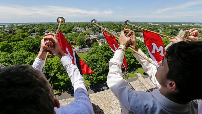 Trumpeters herald the start of the graduation ceremony at Manitowoc Lincoln High School from high above in the Lincoln tower Friday, Jun 8, 2018, in Manitowoc, Wis. Josh Clark/USA TODAY NETWORK-Wisconsin