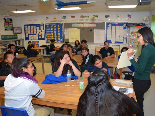 Chaparral Middle School math teacher Rina Viramontes leads a class discussion with the MESA students.