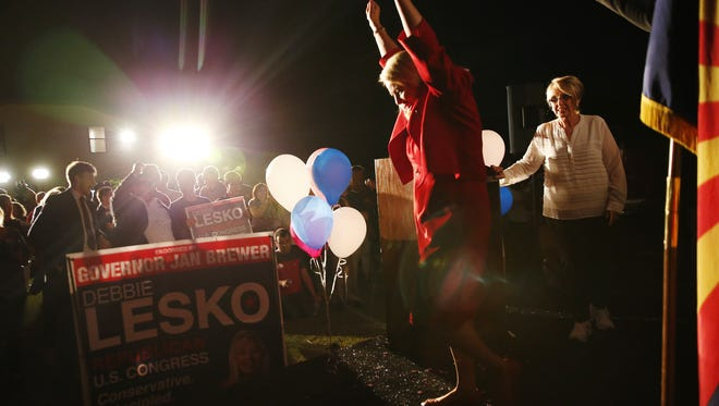 Republican congressional candidate Debbie Lesko celebrates during an election night party in Peoria, Ariz. April 24, 2018. Lesko won a special election against Democrat Hiral Tipirneni for the 8th Congressional District seat vacated by disgraced former Rep. Trent Franks.
