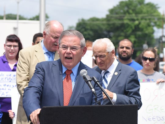 "Senator Bob Menendez speaks at  the Toys ""R"" Us rally."