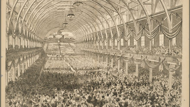 Throngs of delegates cheer as then-Ohio Governor Rutherford B. Hayes is named the Republican Party's nominee at its convention at Exposition Hall in Cincinnati in 1876. The hall sat roughly where Music Hall is today.