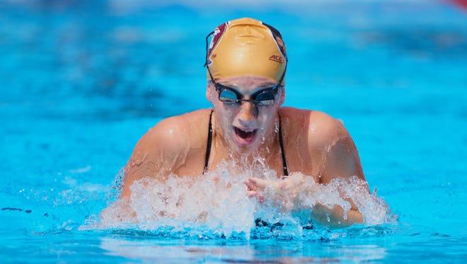 FSU's Natalie Pierce holds school records in both the 100-meter breaststroke and the 200-meter breaststroke.