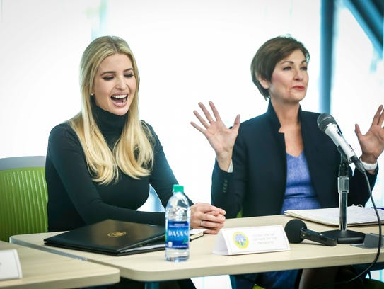 Ivanka Trump, adviser to the president, and Iowa Gov. Kim Reynolds hold a roundtable at the Waukee Innovation and Learning Center in Waukee, Iowa, Monday, March 19, 2018.  The two toured the school, experienced firsthand the school's skill-focused curriculum and participated in a roundtable with students, educators, community leaders, and elected officials.