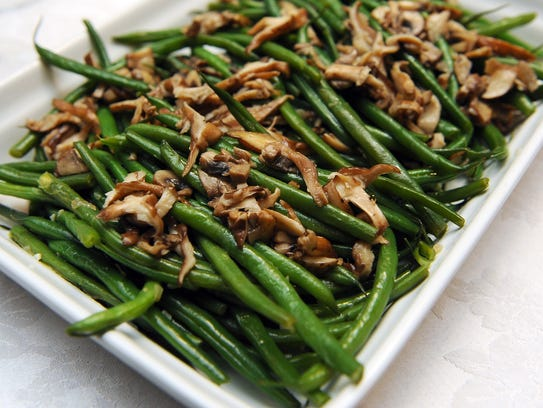 Green beans with shiitake mushrooms is one of the side
