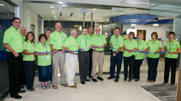 Employees of Sentry Credit Union, along with Sentry board members, attended a ribbon cutting ceremony on Sept. 12, 2016, to mark the opening of a new space for the credit union inside the Sentry Insurance headquarters building.