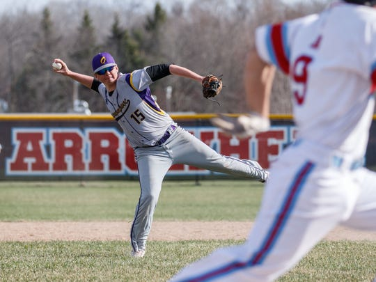 Oconomowoc shortstop Nicholas Brazelton (15) prepares
