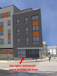 Artist's rendering of City Lights building in Winooski,