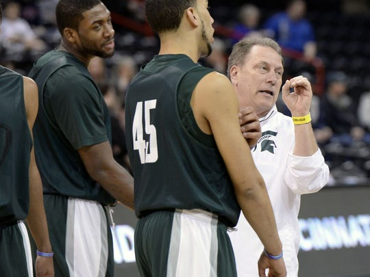 Branden Dawson, left, and Denzel Valentine (45) are two of the most highly ranked recruits on MSU coach Tom Izzo's current team.