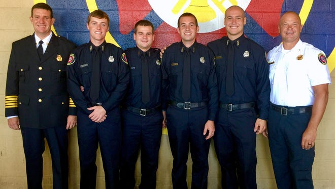From left are Henderson Fire Chief Scott Foreman, Firefighter Jeffrey Yeckering, Firefighter Colton Cross, Firefighter James Egbert, Firefighter Casey O'Daniel and Capt. Keith Brasher.