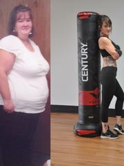 Before and after photos of Angie McCaulley, the owner of a new fitness studio in Lexington.