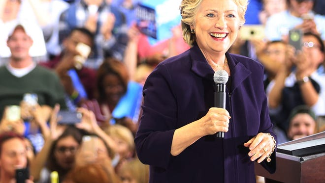 Democratic Presidential candidate Hillary Clinton speaks in Detroit on the campus of Wayne State University.