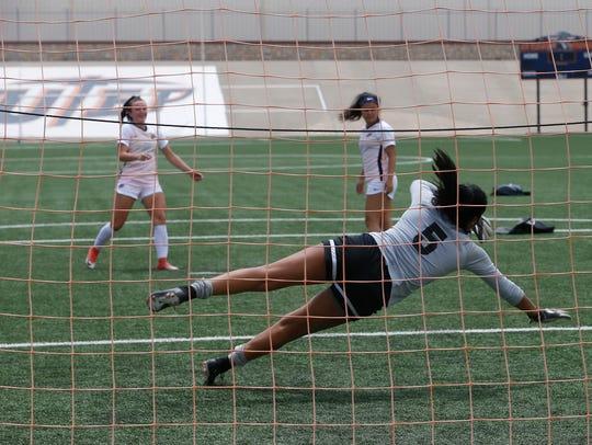 UTEP goalie Alyssa Palacios, a senior on this year's