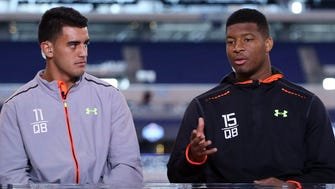 Marcus Mariota, left, went second in the 2015 draft, after Jameis Winston.