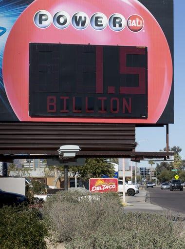 The Powerball sign, Jan. 12, 2016, at 44th Street and McDowell Road in Phoenix.