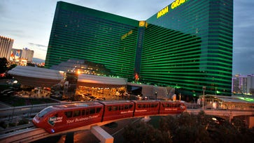 The Las Vegas Monorail passes by the MGM Grand.