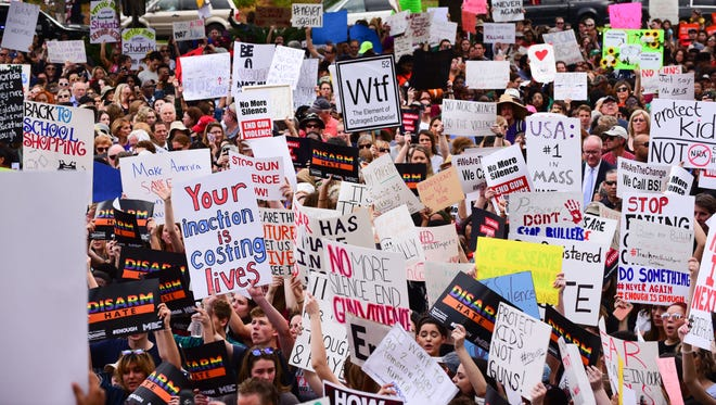Protesters gathered outside of the Florida Capitol Building recently in support of gun reform. The protest comes after the shooting in Parkland, Fla. at Marjory Stoneman Douglas High School, that left 17 people dead.