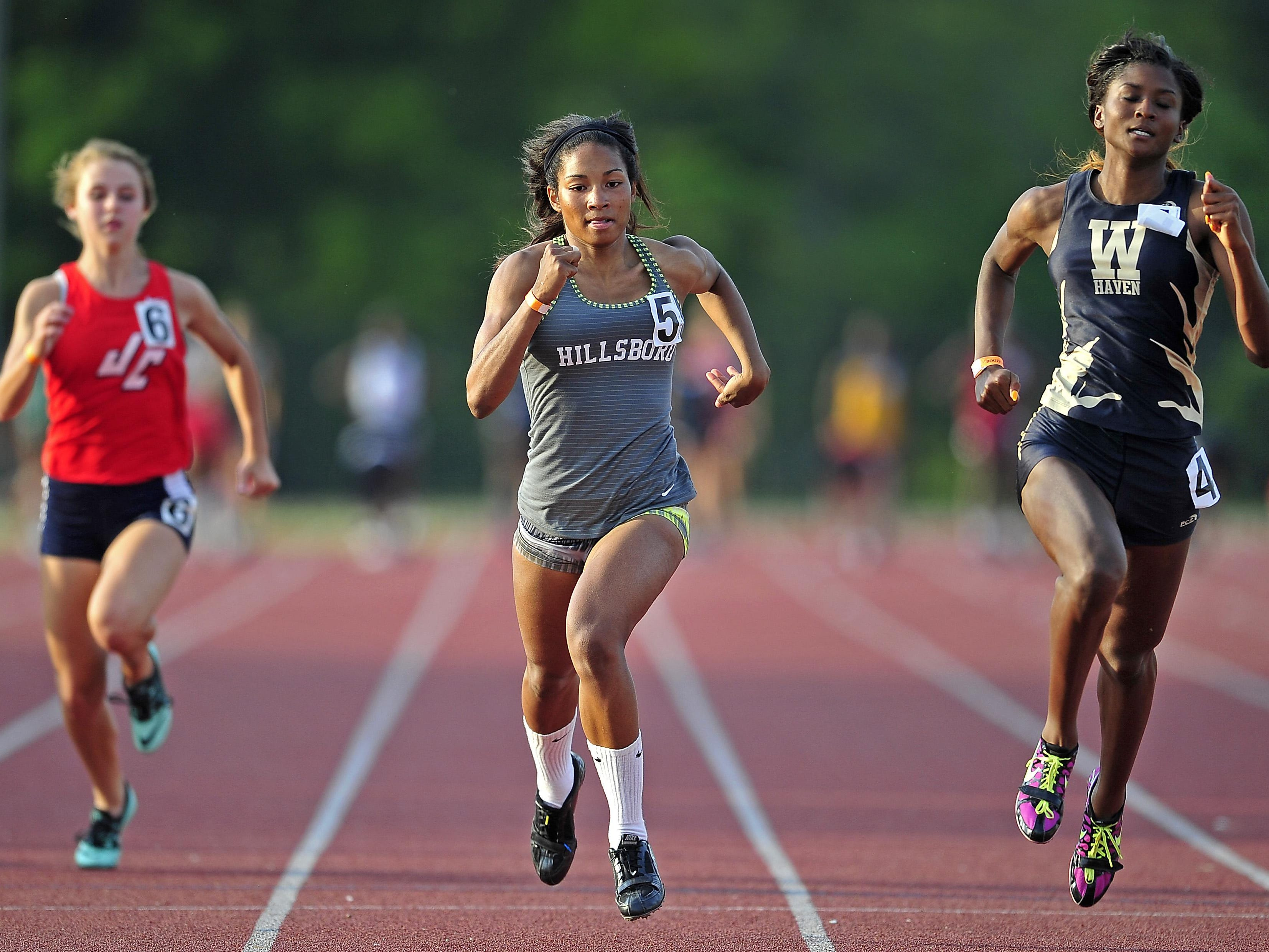Hillsboro's Janel Pate (5) is a member of the first-team girls All-Midstate track and field team.